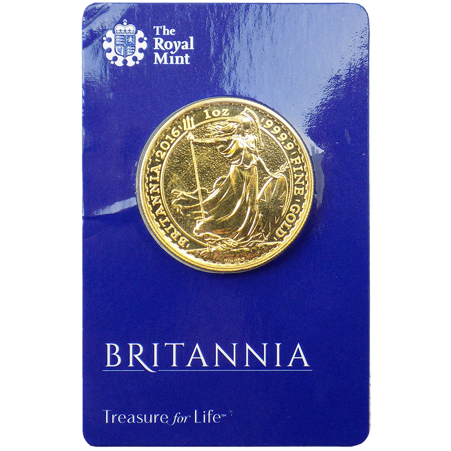 Pre-Owned 2016 UK Britannia Carded 1oz Gold Coin