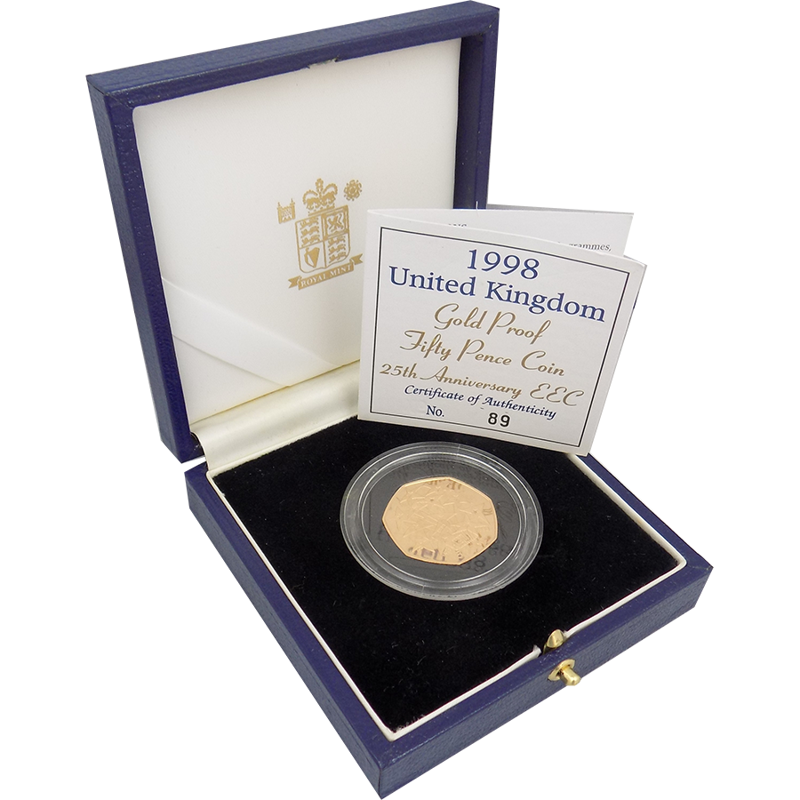 Pre-Owned 1998 UK 25th Anniversary of EEC 50p Gold Coin