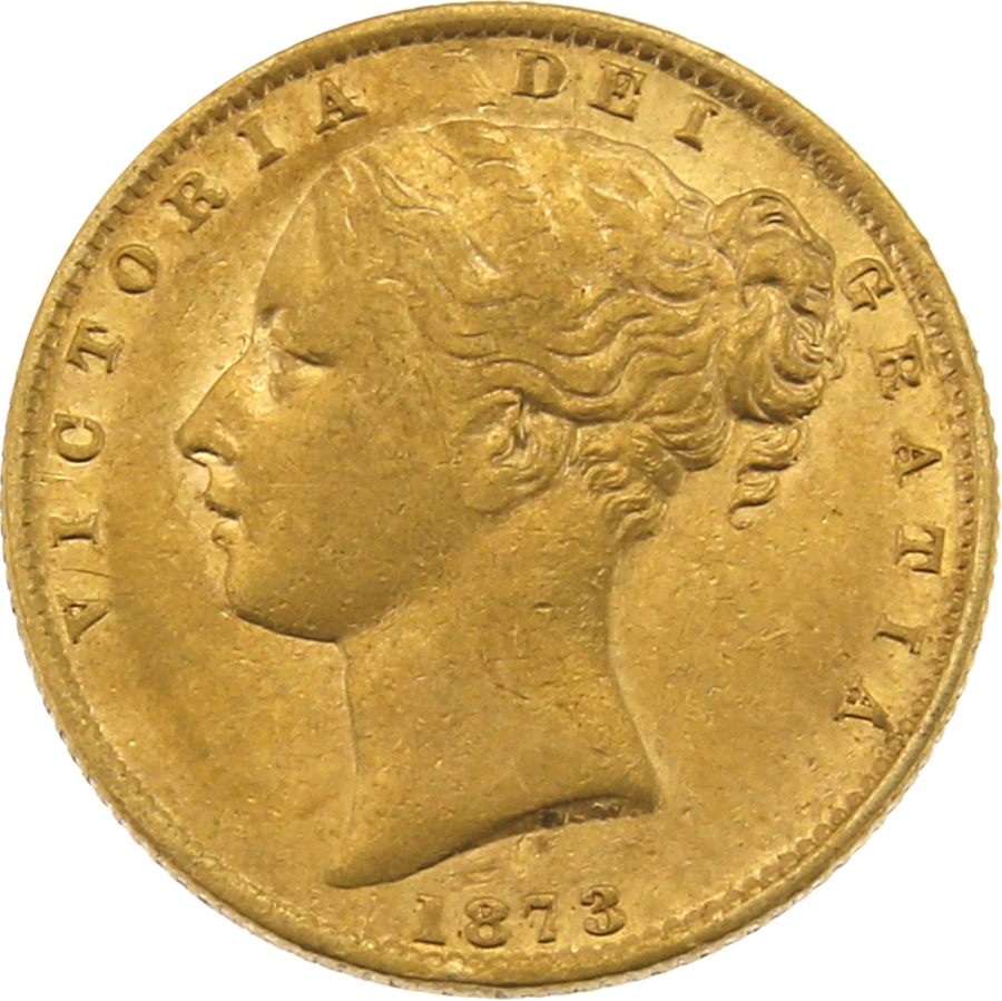 Pre-Owned 1873 Sydney Mint Victoria Young Head Full Sovereign Gold Coin