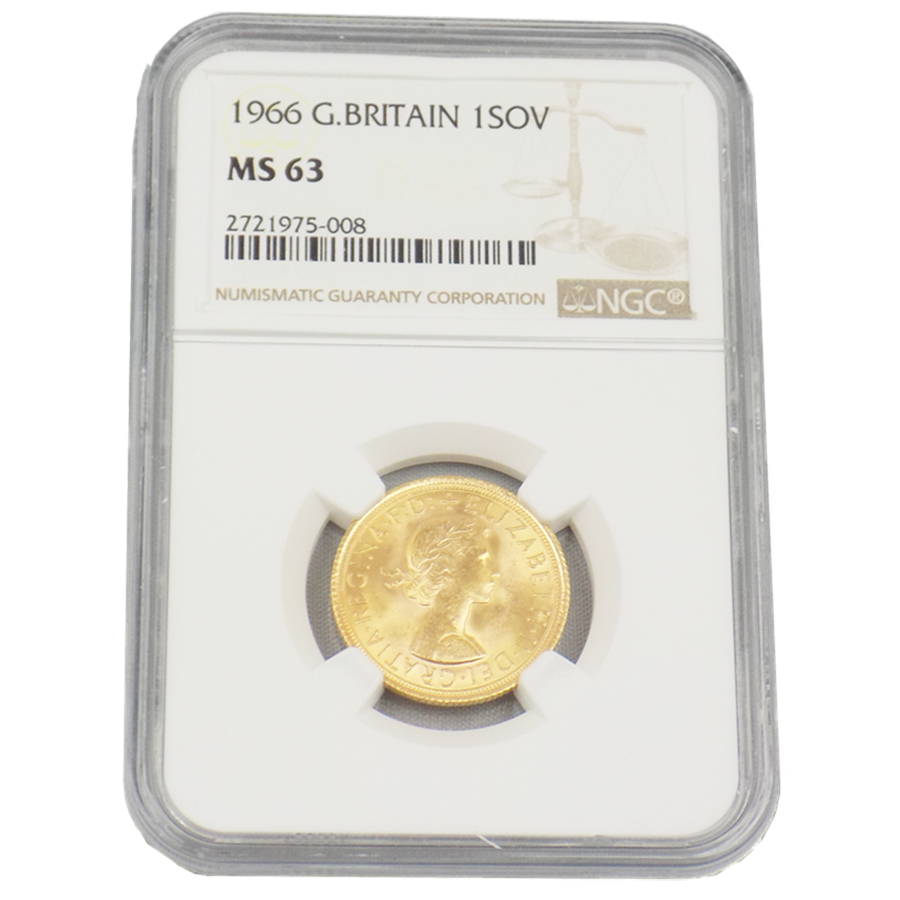 Pre-Owned 1966 UK Full Sovereign Gold Coin NGC Graded MS 63 - 2721975-008