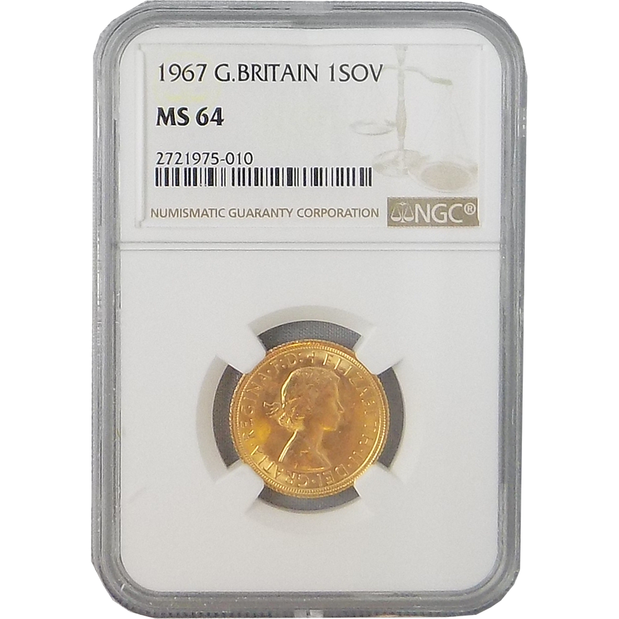 Pre-Owned 1967 UK Full Sovereign Gold Coin NGC Graded MS 64 - 2721975-010
