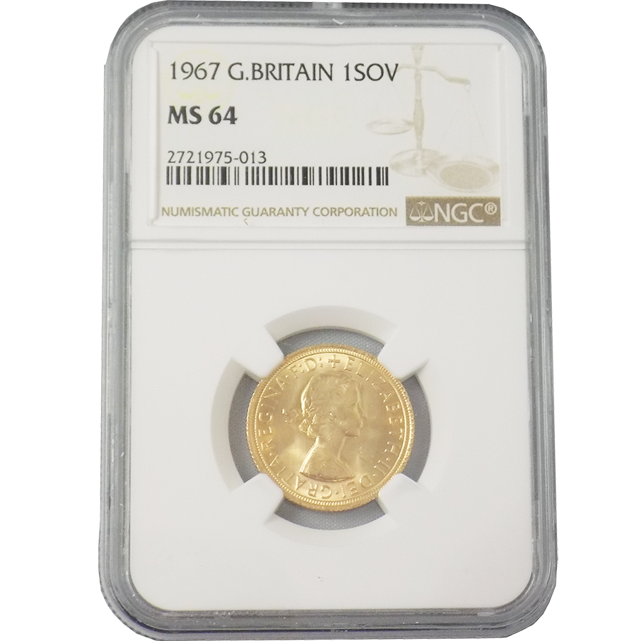 Pre-Owned 1967 UK Full Sovereign Gold Coin NGC Graded MS 64 - 2721975-013