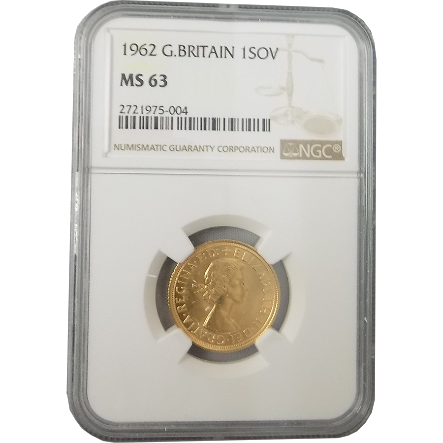 Pre-Owned 1962 UK Full Sovereign Gold Coin NGC Graded MS 63 - 2721975-004