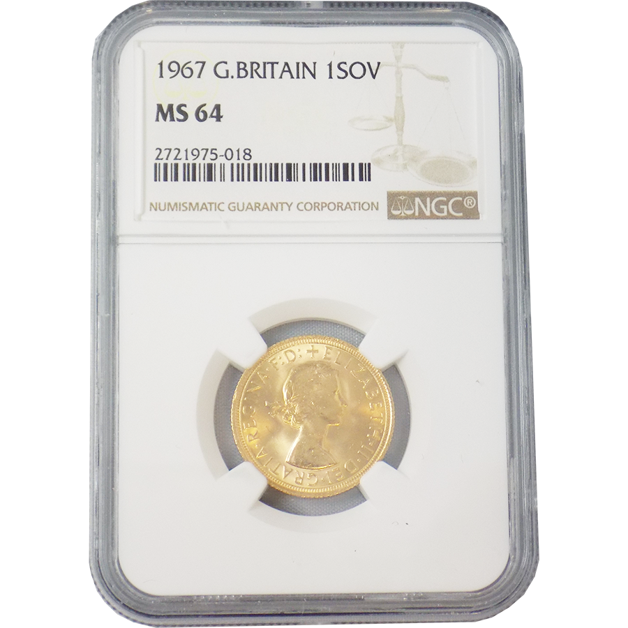 Pre-Owned 1967 UK Full Sovereign Gold Coin NGC Graded MS 64 - 2721975-018