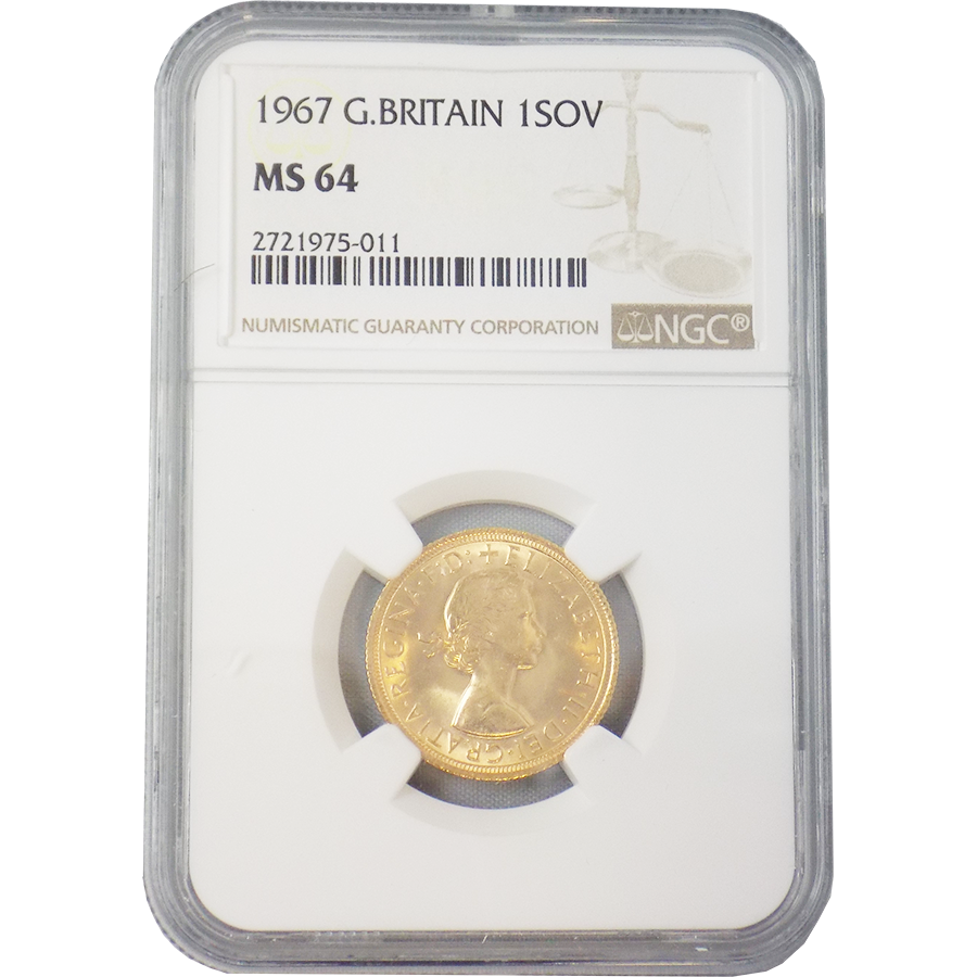 Pre-Owned 1967 UK Full Sovereign Gold Coin NGC Graded MS 64 - 2721975-011
