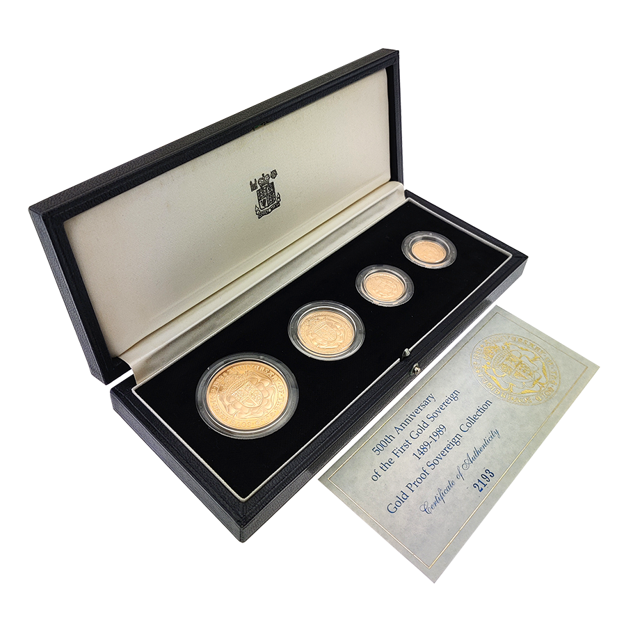 Pre-Owned 1989 UK 500th Anniversary Proof Sovereign Gold 4 Coin Set (Image 2)