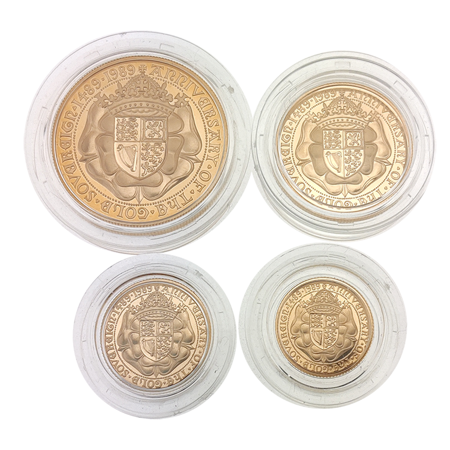 Pre-Owned 1989 UK 500th Anniversary Proof Sovereign Gold 4 Coin Set (Image 3)