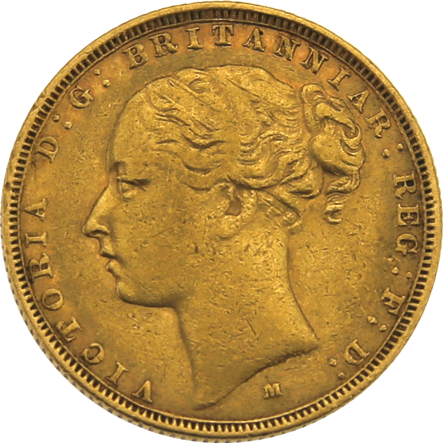 Pre-Owned 1881 Melbourne Mint Victoria Young Head Full Sovereign Gold Coin