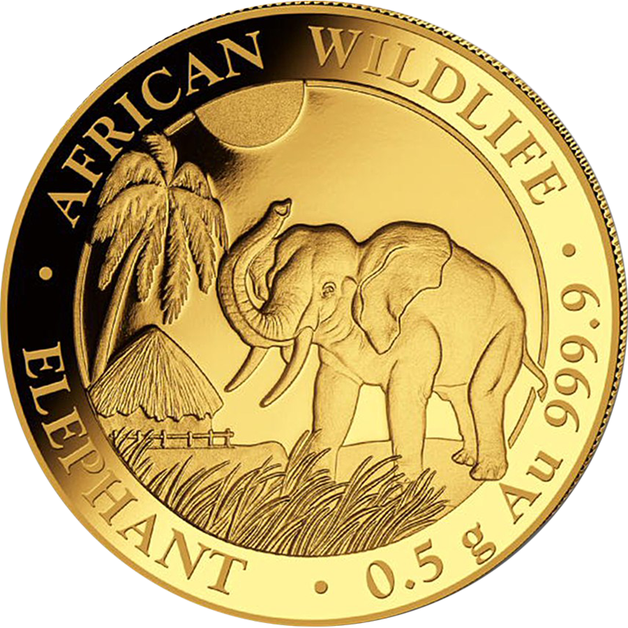 Pre-Owned Somalian Elephant 0.5g Gold Coin - Mixed Dates