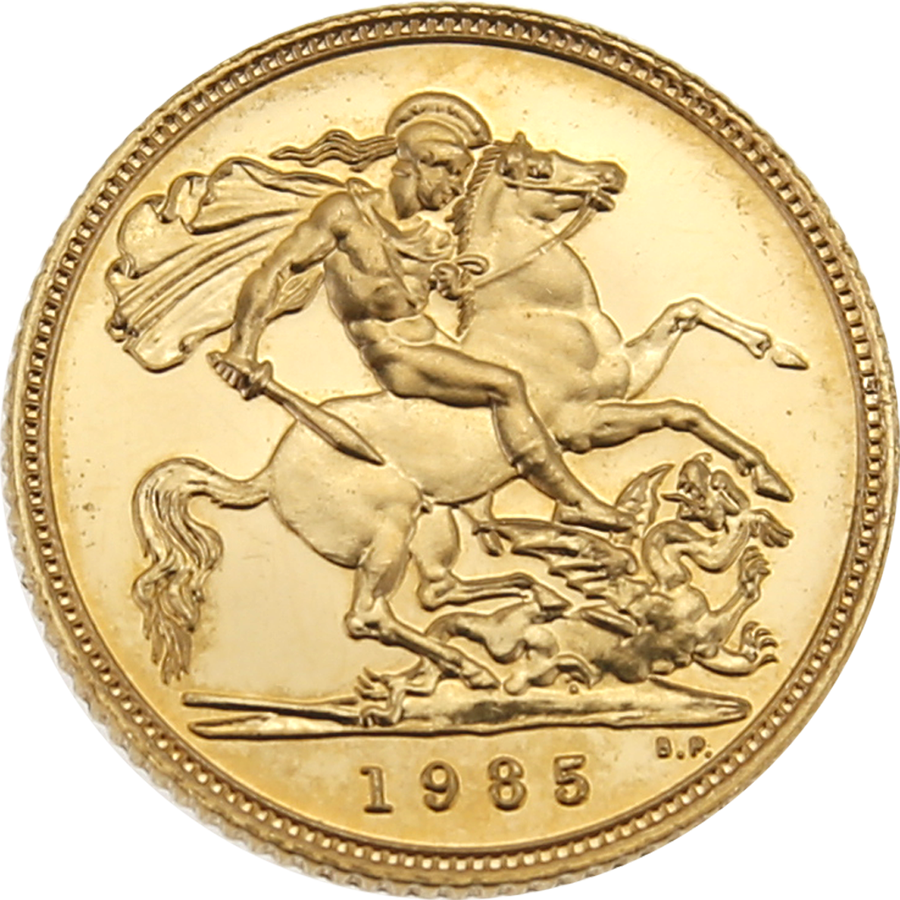 Pre-Owned 1985 UK Proof Design Half Sovereign Gold Coin (Image 1)