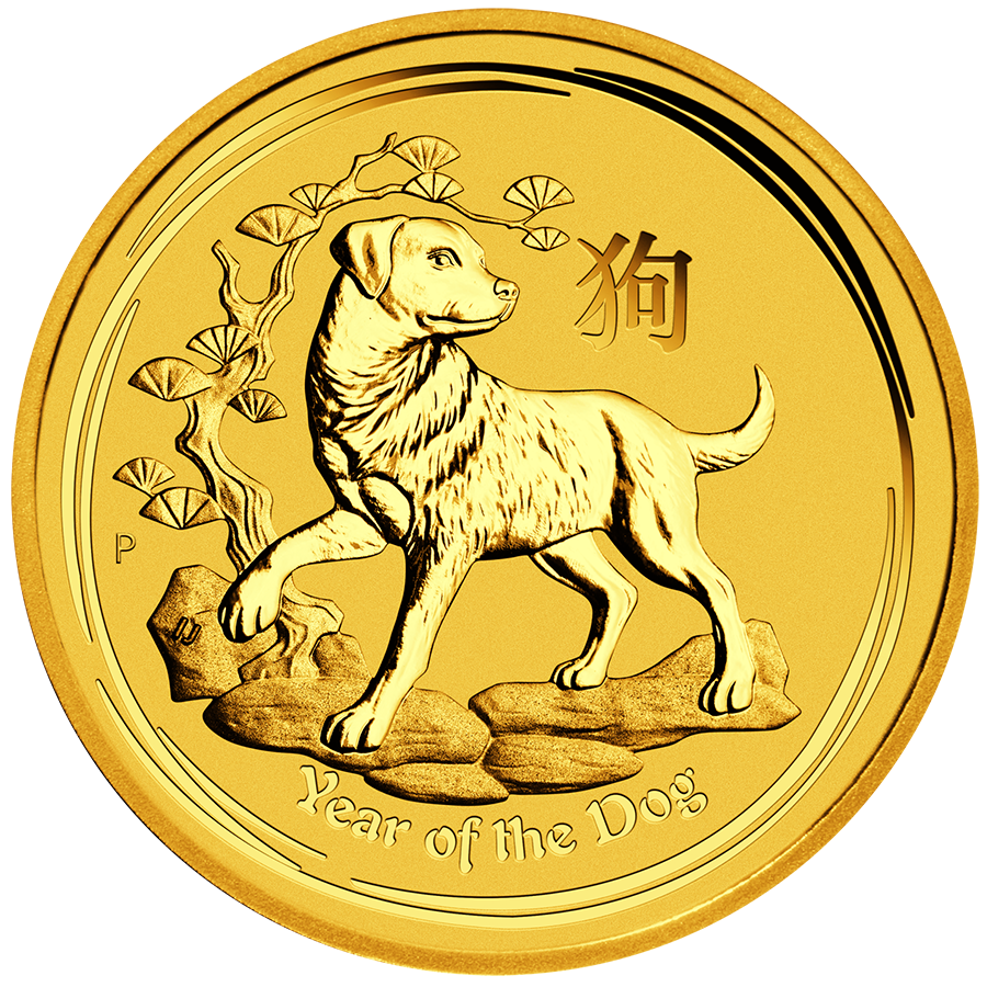 2018 Australian Lunar Dog 1/10oz Gold Coin
