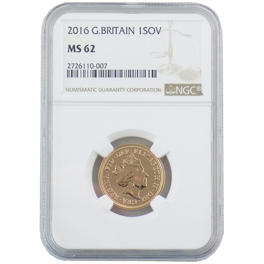 Pre-Owned 2016 UK Full Sovereign Gold Coin NGC Graded MS 62 - 2726110-007