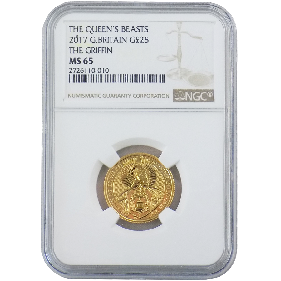 2017 UK Queen's Beasts The Griffin 1/4oz Gold Coin NGC Graded MS 65 - 2726110-010