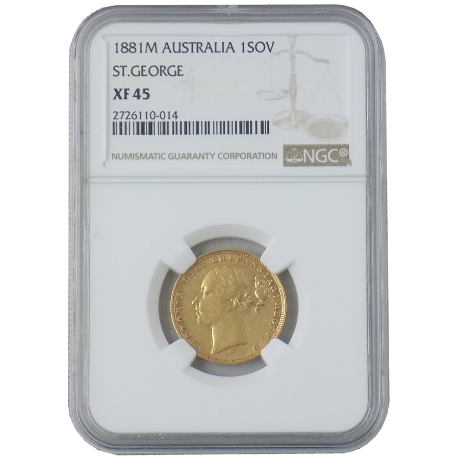 Pre-Owned 1881 Australian Victorian Young Head Full Sovereign Gold Coin NGC Graded XF 45 - 2726110-0