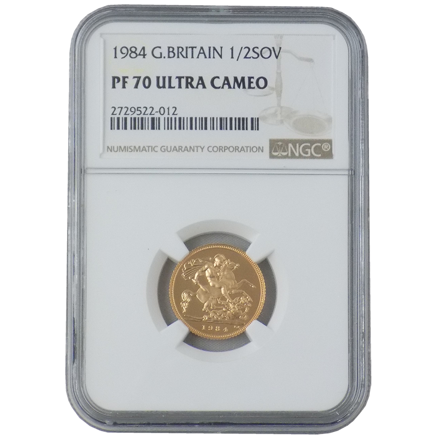 Pre-Owned 1984 UK Half Sovereign Gold Proof Coin NGC Graded PF 70 - 2729522-012