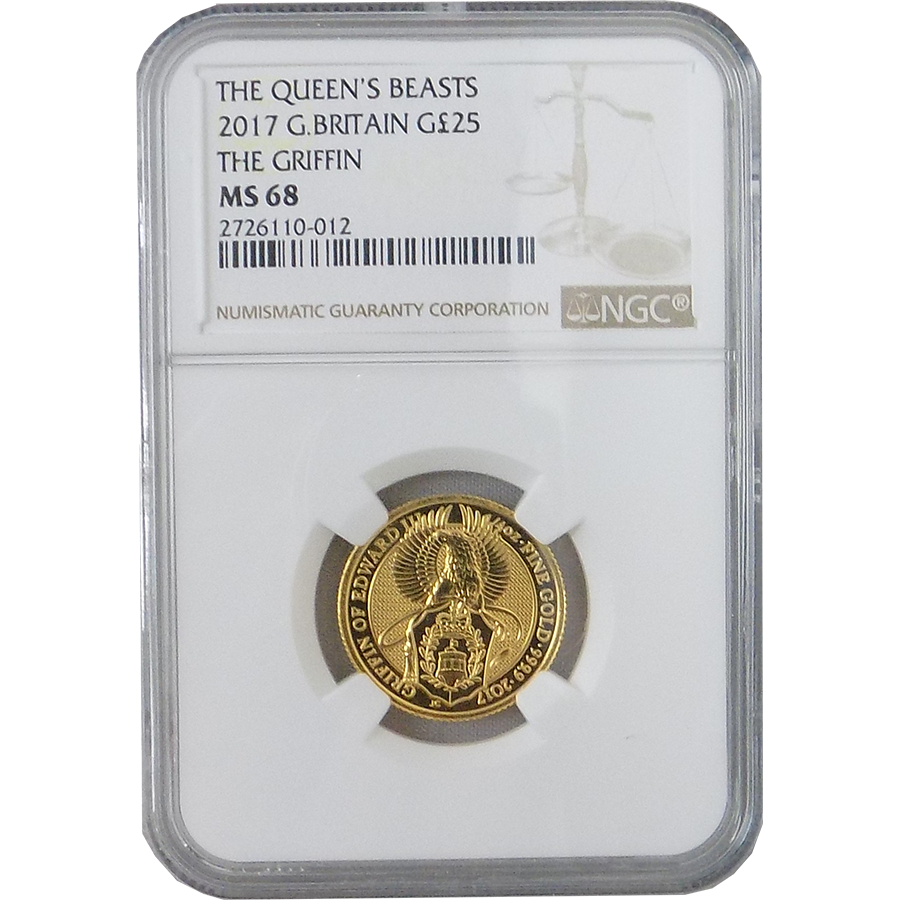 2017 UK Queen's Beast The Griffin 1/4oz Gold Coin NGC Graded MS 68 - 2726110-012