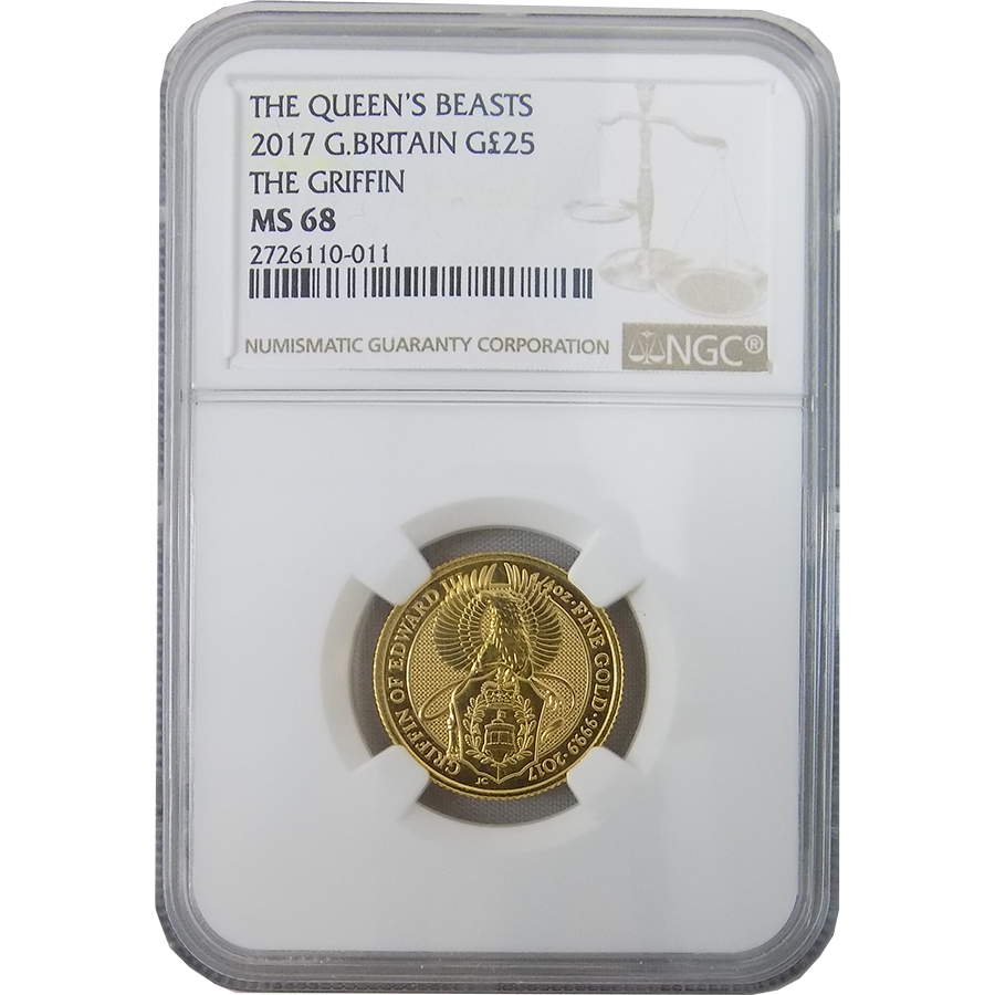 2017 UK Queen's Beast The Griffin 1/4oz Gold Coin NGC Graded MS 68 - 2726110-011