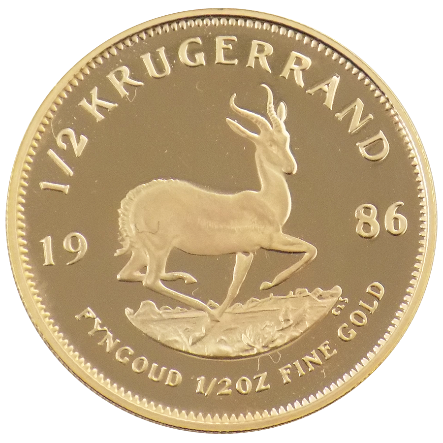 Pre-Owned South African Krugerrand Proof Design 1/2oz Gold Coin - Mixed Dates