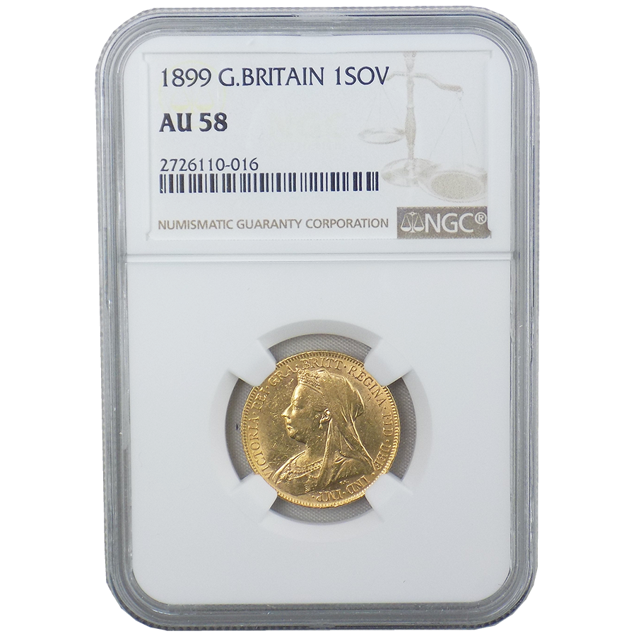 Pre-Owned 1899 UK Victoria Veiled Head Full Sovereign Gold Coin - NGC Graded AU 58 - 2726110-016