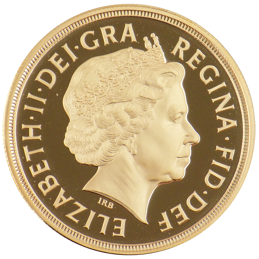 Pre-Owned 2007 UK Quintuple Sovereign Proof Design Gold Coin