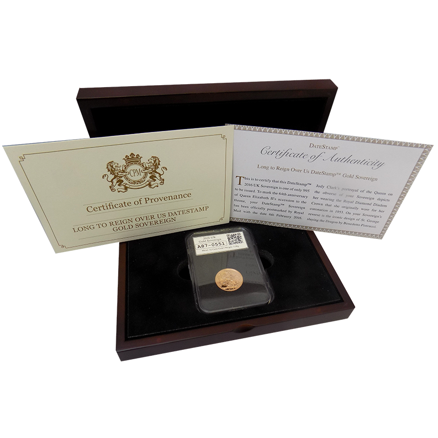Pre-Owned 2016 UK Full Sovereign Gold Coin - Slabbed & Boxed