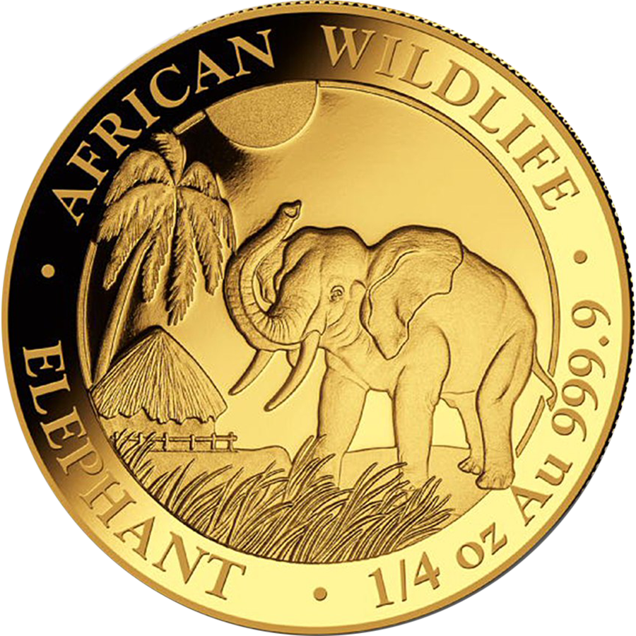 Pre-Owned Somalian Elephant 1/4oz Gold Coin - Mixed Dates
