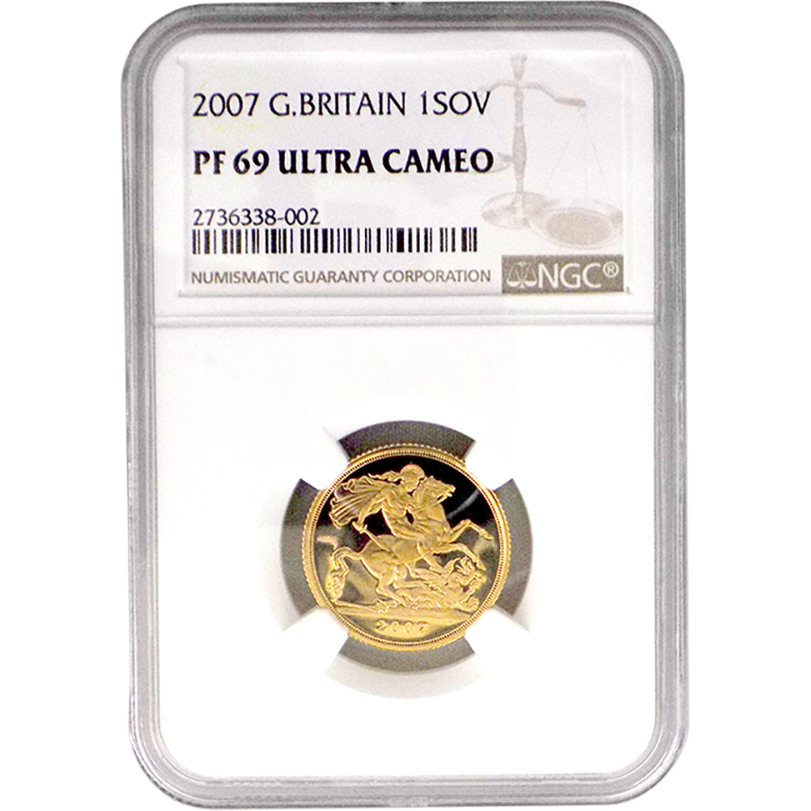 Pre-Owned 2007 UK Proof Full Sovereign Gold Coin - NGC Graded PF 69 Ultra Cameo - 2736338-002