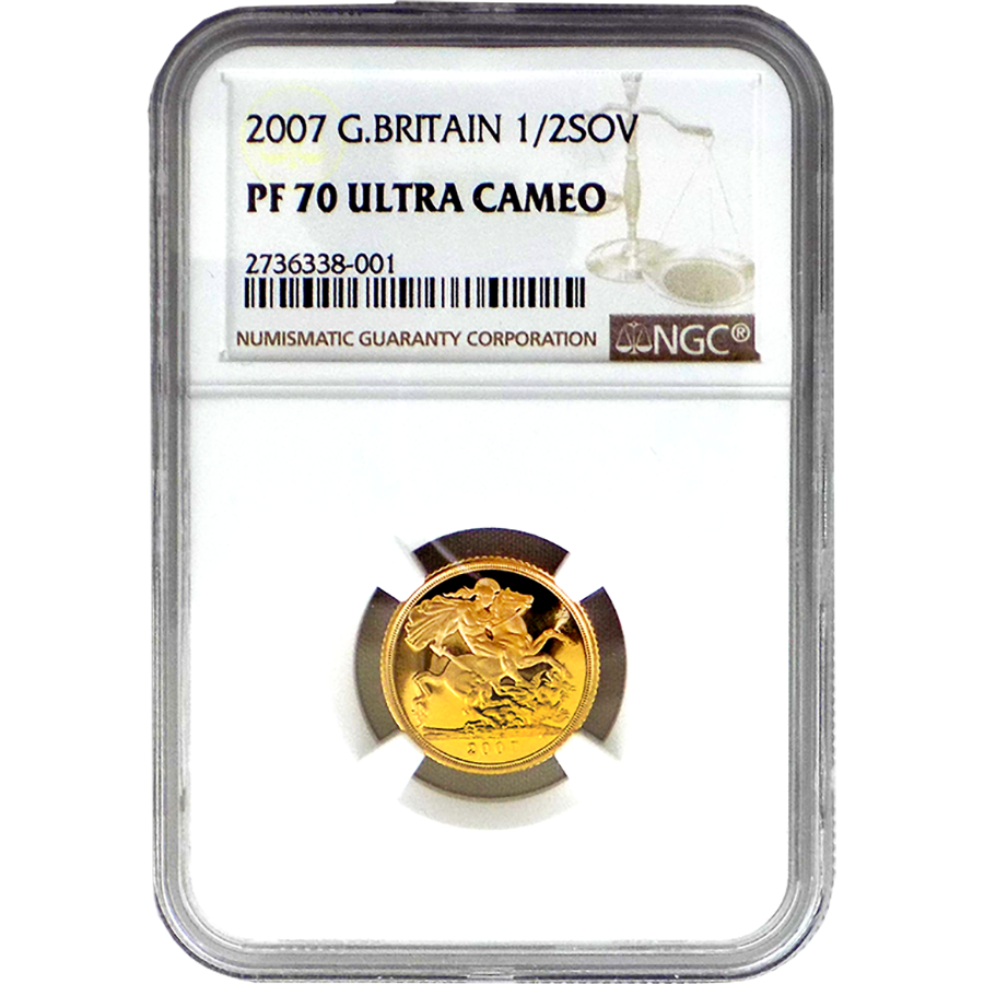 Pre-Owned 2007 UK Proof Design Half Sovereign Gold Coin - NGC Graded PF 70 - 2736338 - 001