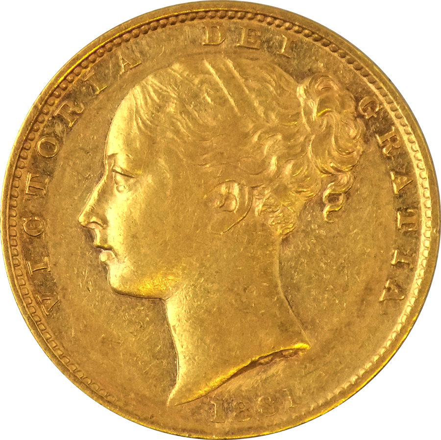 Pre-Owned 1881 Sydney Mint Victorian 'Shield' Full Sovereign Gold Coin