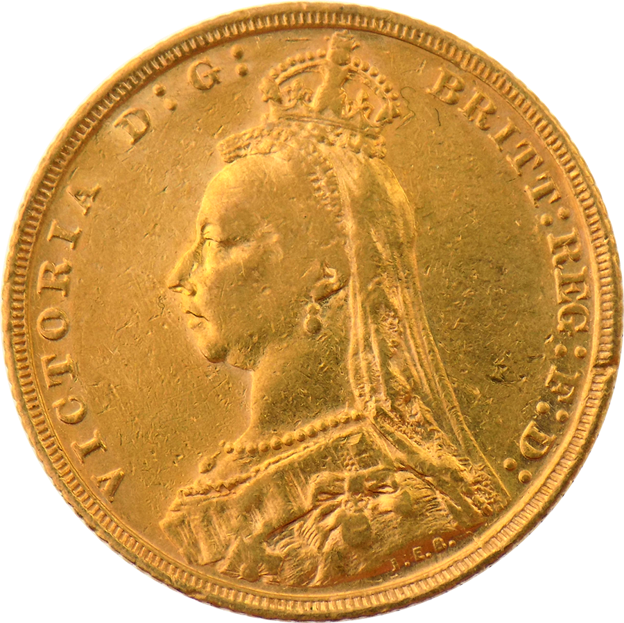 Pre-Owned 1893 Melbourne Mint Victoria Jubilee Head Full Sovereign Gold Coin