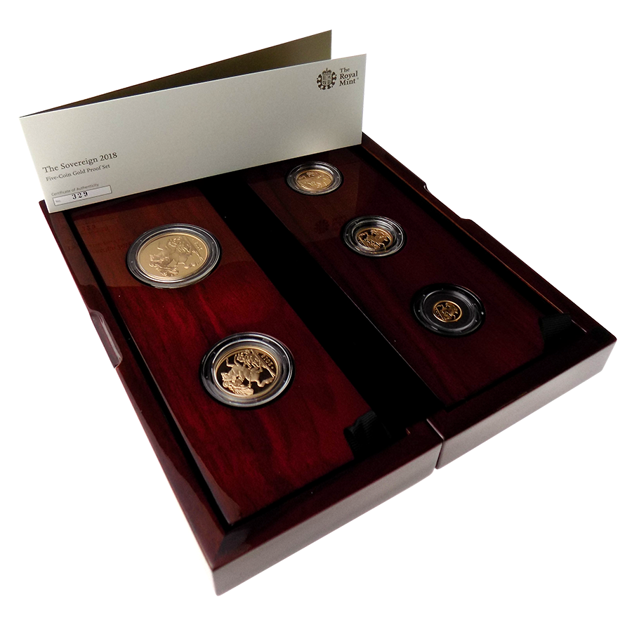 Pre-Owned 2018 UK Proof Sovereign Gold 5 Coin Collection