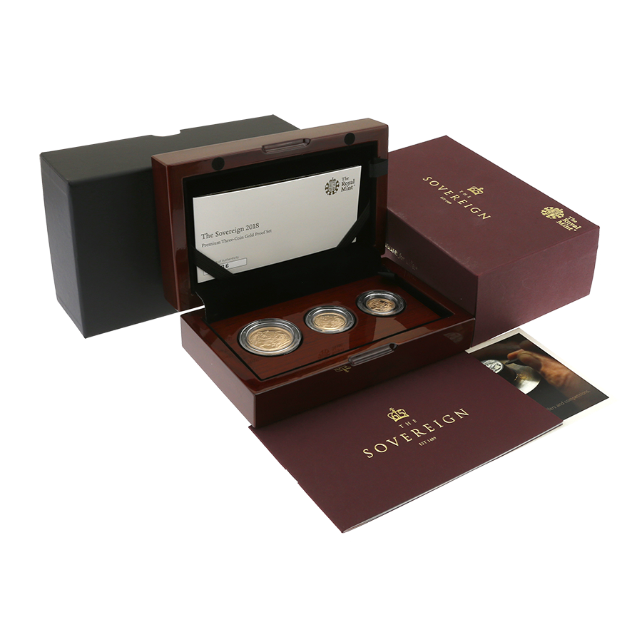 Pre-Owned 2018 UK Proof Sovereign Gold 3 Coin Collection