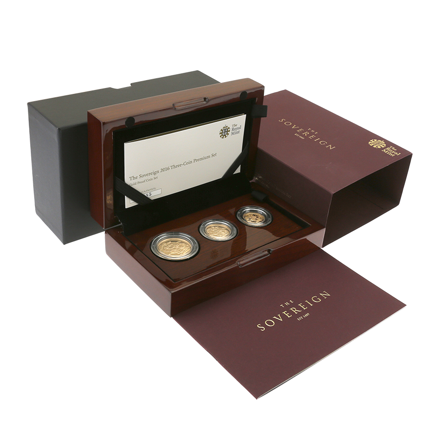 Pre-Owned 2016 UK Sovereign Gold Proof 3-Coin Set