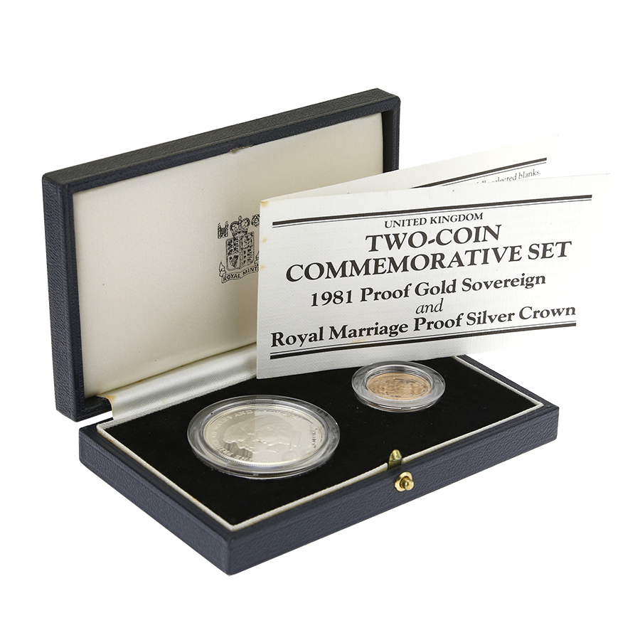 Pre-Owned 1981 UK Royal Marriage Two-Coin Commemorative Gold and Silver Proof Coin Set (Image 1)