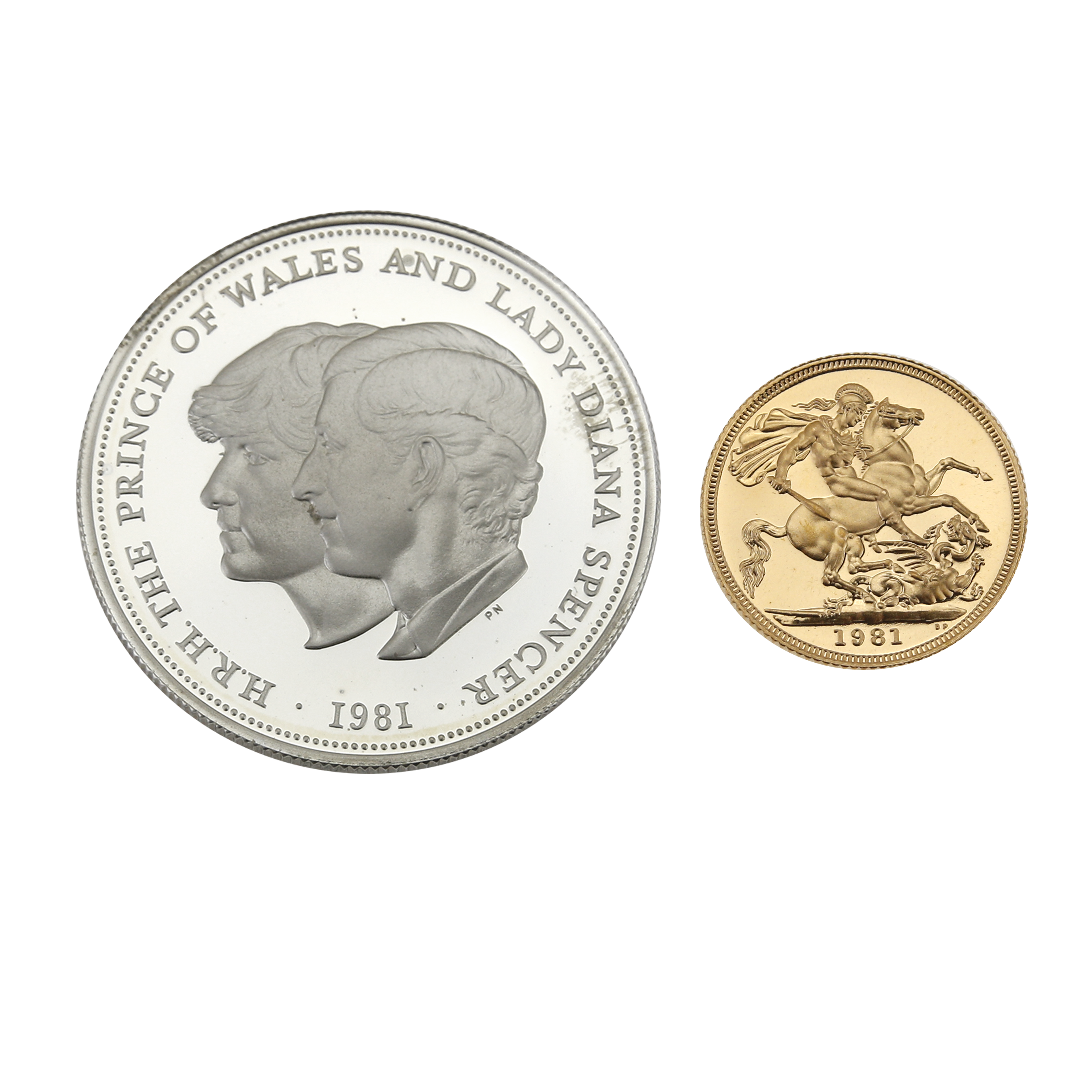 Pre-Owned 1981 UK Royal Marriage Two-Coin Commemorative Gold and Silver Proof Coin Set (Image 2)