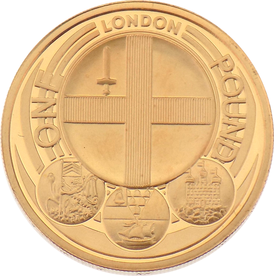 Pre-Owned 2010 UK Capital Cities London Proof £1 Gold Coin (Image 2)