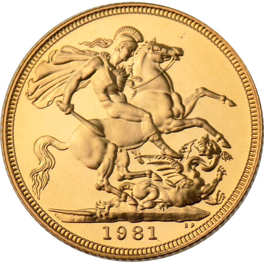 Pre-Owned 1981 UK Elizabeth II Full Sovereign Gold Coin (Image 2)