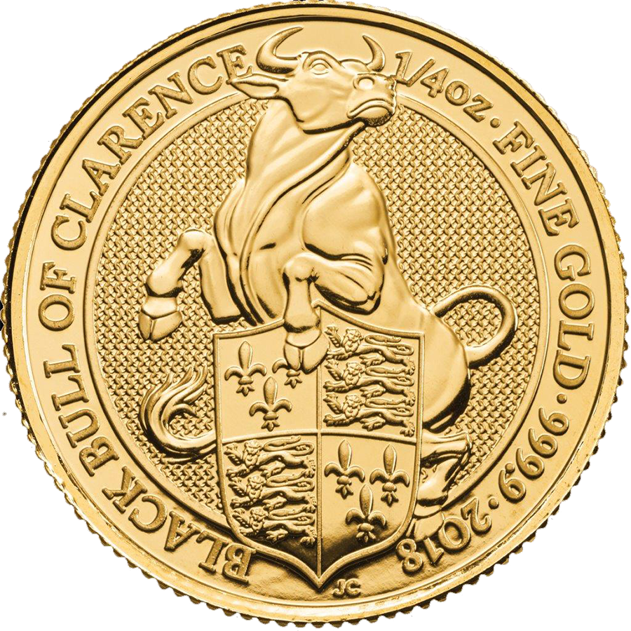 Pre-Owned 2018 UK Queen's Beasts The Black Bull  Of Clarence 1/4oz Gold Coin