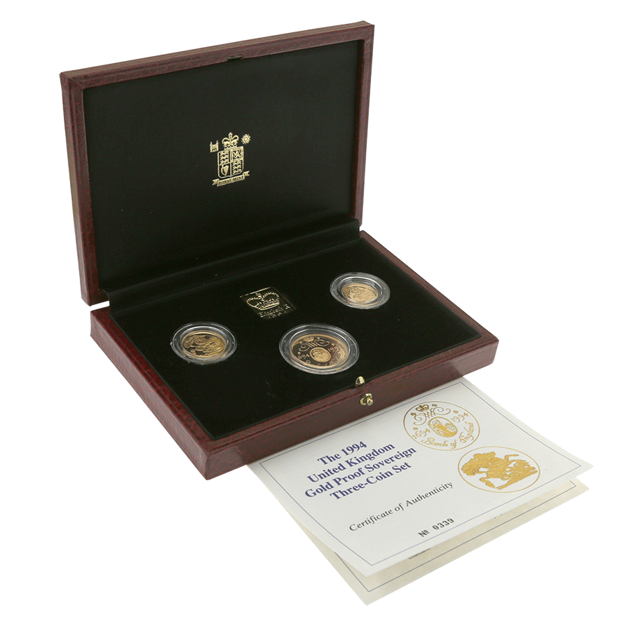 Pre-Owned 1994 UK Sovereign Gold Proof 3-Coin Set