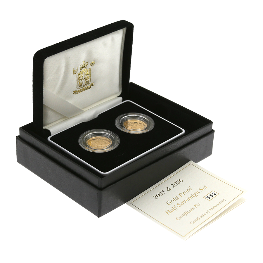 Pre-Owned 2005 2006 UK Half Sovereign Gold Proof 2-Coin Set