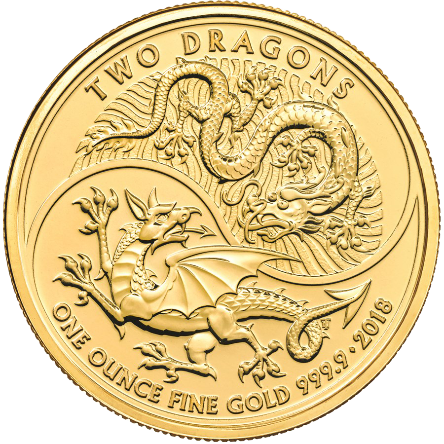 2018 UK Two Dragon 1oz Gold Coin (Image 1)