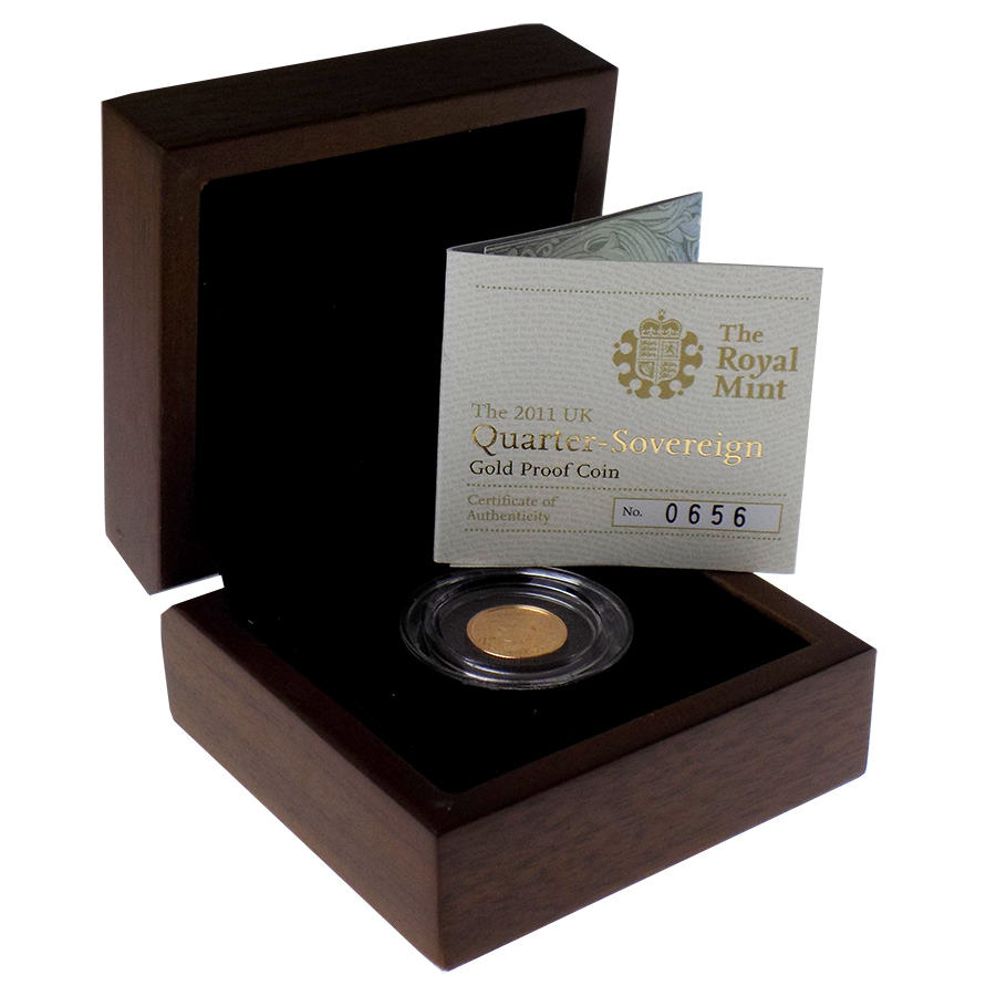 Pre-Owned 2011 UK Quarter Sovereign Proof Gold Coin