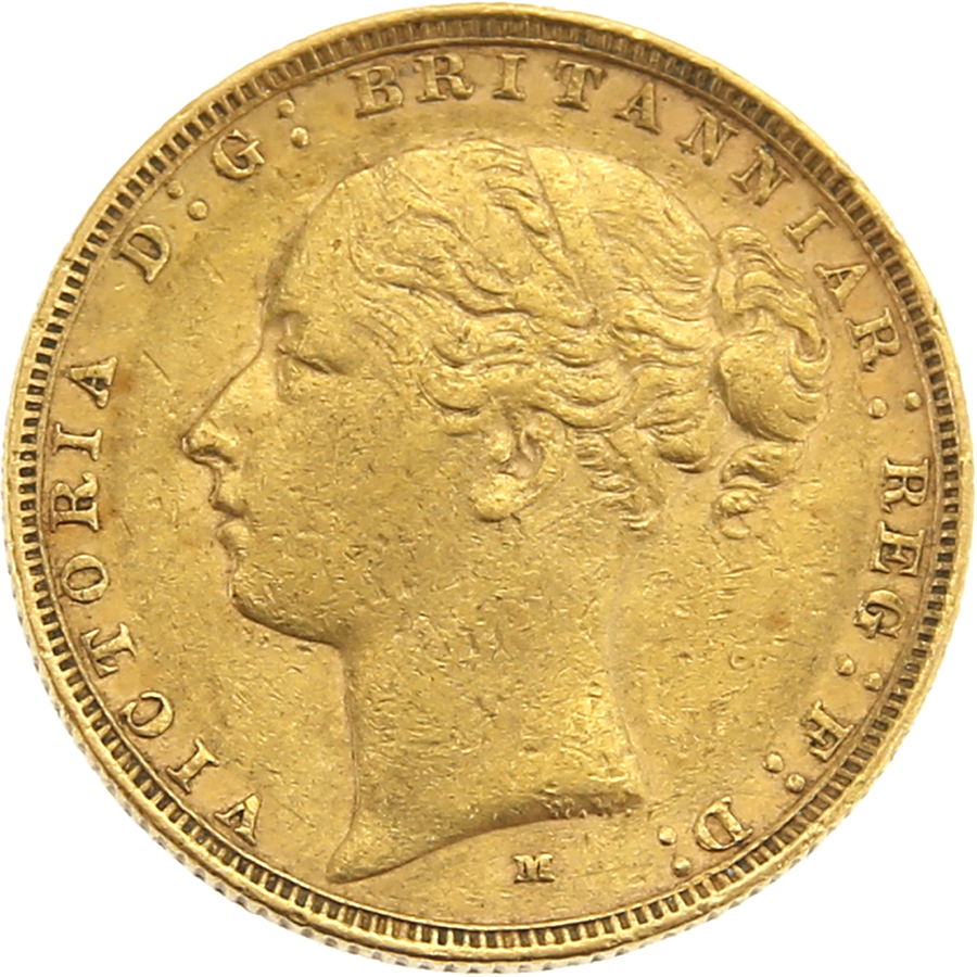 Pre-Owned 1884 Melbourne Mint Victoria Young Head Full Sovereign Gold Coin