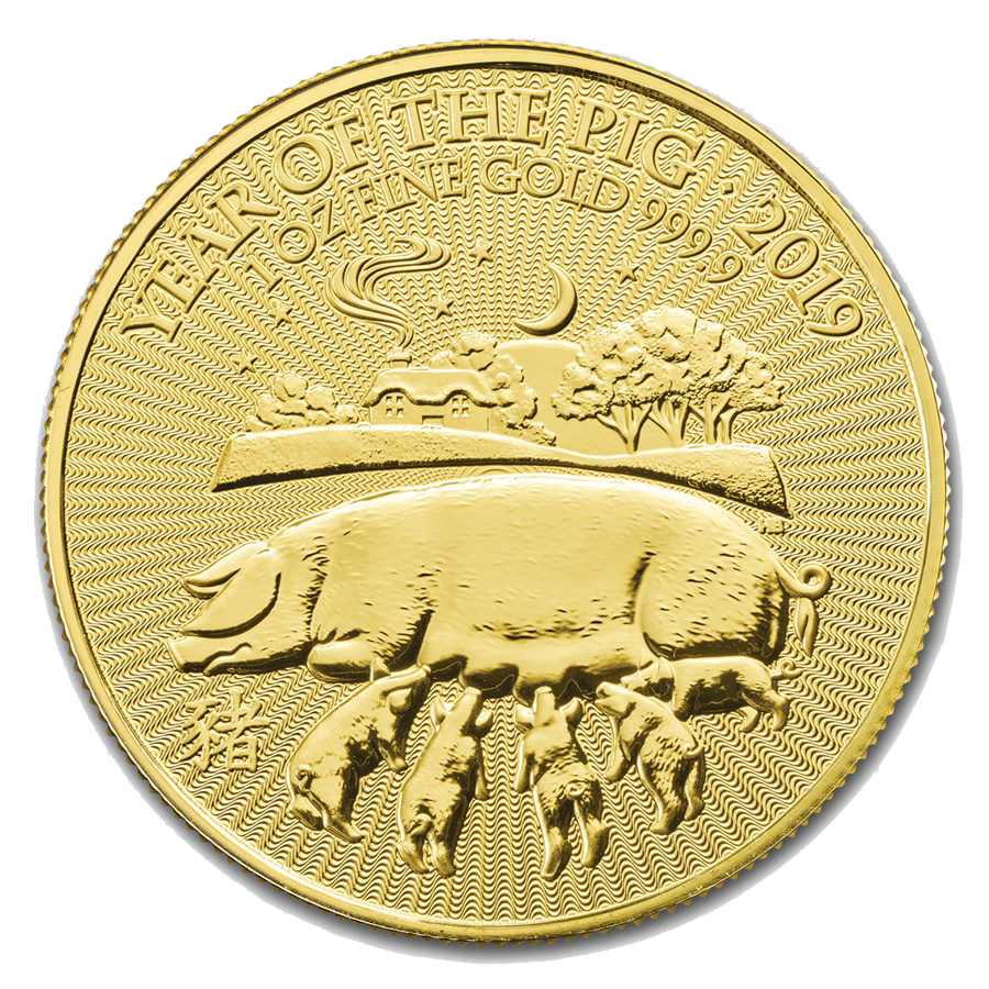 2019 UK Lunar Pig 1oz Gold Coin