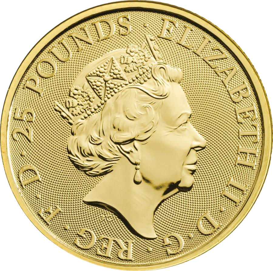 2019 UK Queen's Beasts The Falcon of the Plantagenets 1/4oz Gold Coin (Image 2)