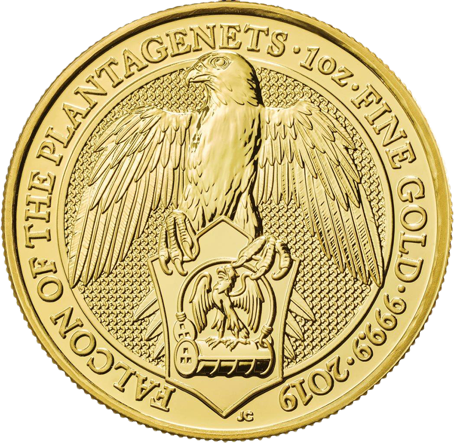 2019 UK Queen's Beasts The Falcon of the Plantagenets 1oz Gold Coin