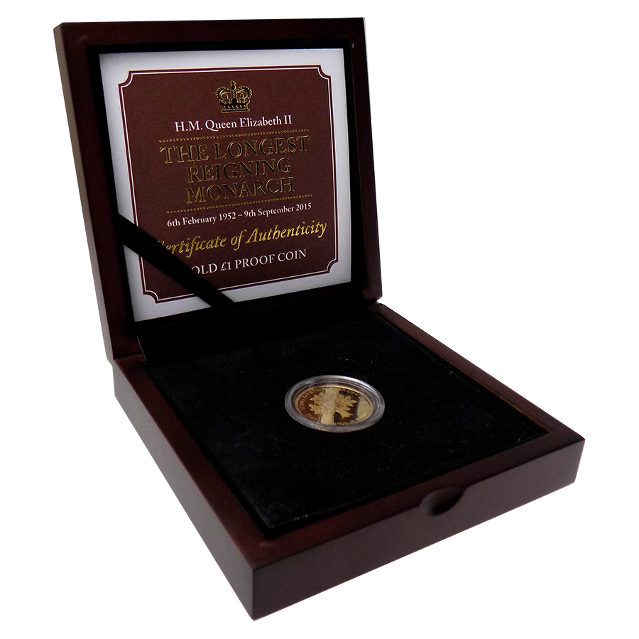 Pre-Owned 2015 Jersey Proof Longest Reigning Monarch £1 Gold Coin