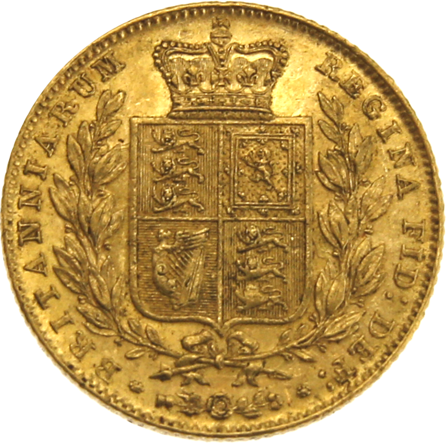 Pre-Owned 1847 London Mint Victorian 'Shield' Full Sovereign Gold Coin (Image 2)