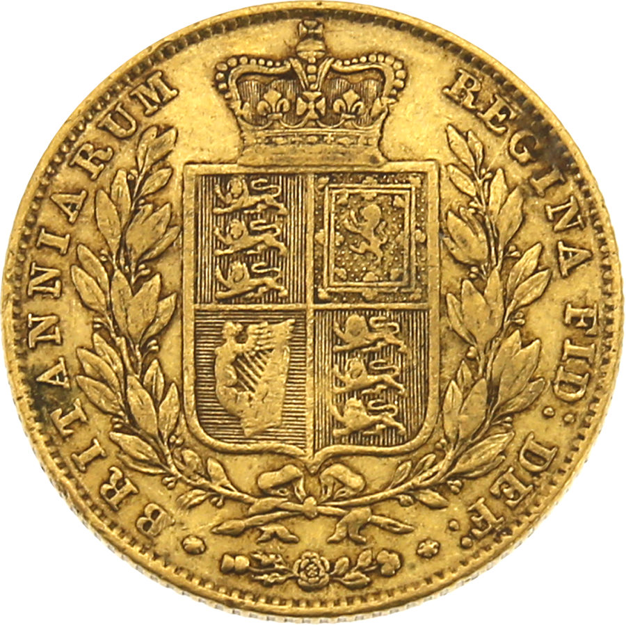 Pre-Owned 1847 London Mint Victorian Shield Full Sovereign Gold Coin (Image 2)
