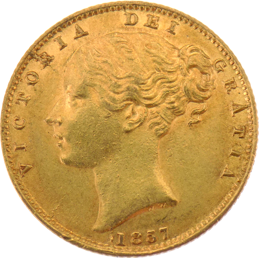 Pre-Owned 1857 London Mint Victoria Young Head Shield Full Sovereign Gold Coin (Image 1)